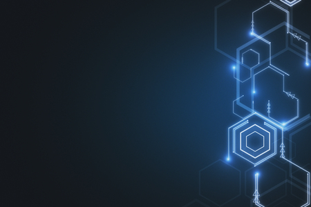 Creative glowing digital wallpaper. Technology, innovation and future concept. 3D Rendering