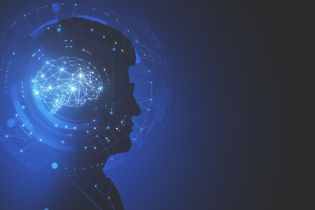 Side view of businessman silhouette with polygonal brain. Artificial intelligence and cyberspace concept. Doouble exposure Stock fotó