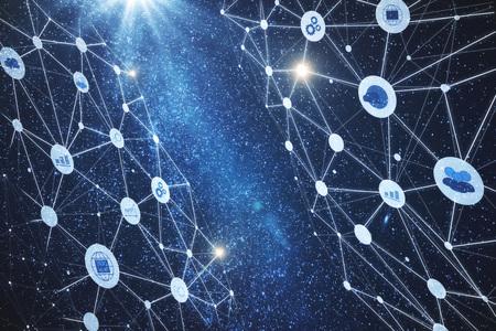 デジタル多角形のビジネスインターフェイスを持つ抽象的な星空空間の背景。未来とイノベーションのコンセプト。二重露光