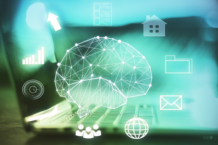 Toned image of laptop with polygonal brain hologram. Artificial intelligence concept. Double exposure  Stock Photo