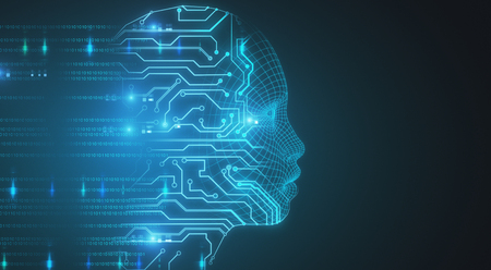 Glowing circuit head on blue backdrop. 3D Rendering  写真素材