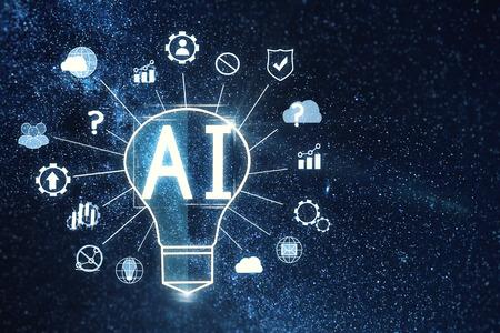 Abstrakte AI-Lampe auf Hintergrund des sternenklaren Himmels. Künstliche Intelligenz und Wissenschaftskonzept. 3D-Rendering