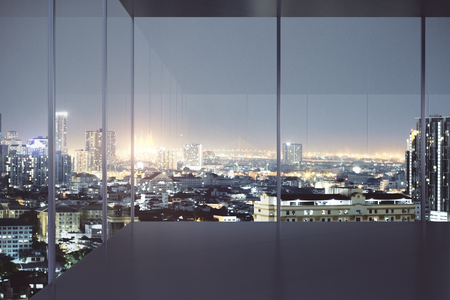 Modern empty office interior with panoramic night city view and copy space. 3D Rendering Imagens - 96458840