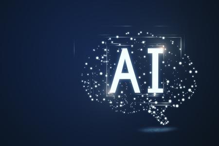 Copyspace와 파란색 배경에 창조적 인 다각형 뇌입니다. 인공 지능과 과학 개념. 3D 렌더링 스톡 콘텐츠 - 96458874