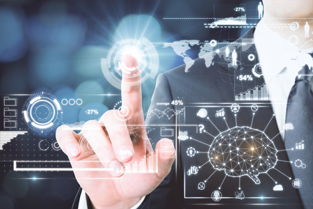 AI and information concept. Businessman hand pounting at abstract artificial intelligence interface. 3D Rendering