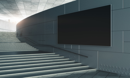 Concrete stairs with empty black billboard. Success and advertisement concept. Mock up, 3D Rendering