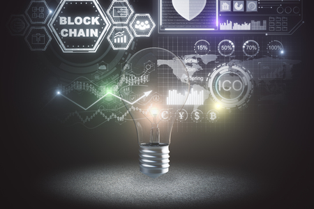 Glowing lamp with creative blockchain interface. Cryptography and idea concept. 3D Rendering