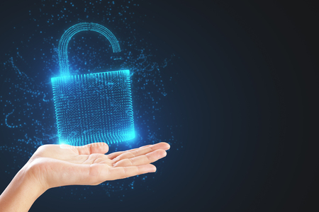Hand holding glowing padlock on dark background. Security and password concept. 3D Rendering
