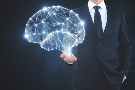 Businessman holding glowing polygonal brain on dark background. Artificial intelligence and data concept. 3D Rendering Stockfoto - 96460081