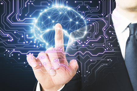 Businessman pointing at polygonal brain interface. AI and medicine concept. 3D Rendering  Stockfoto