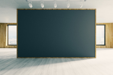 Contemporary office interior with empty chalkboard. Mock up, 3D Rendering