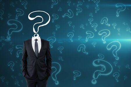 Question mark sketch headed businessman on blue background with copy space. Confusion and inquiry concept