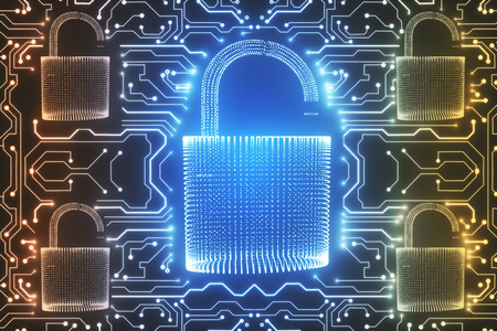 Abstract glowing digital padlock circuit wallpaper. Web safety and protection concept. 3D Rendering