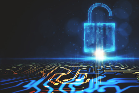 Abstract glowing digital padlock circuit background. Web safety and protection concept. 3D Rendering