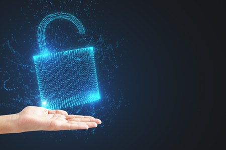 Hand holding glowing padlock on dark background. Security and internet concept. 3D Rendering