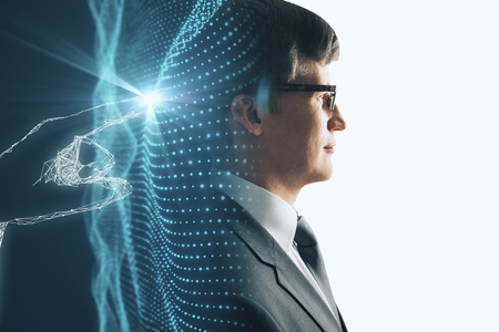 Side portrait of handsome european businessman on abstract glowing polygonal background. Technology and innovation concept. Double exposure
