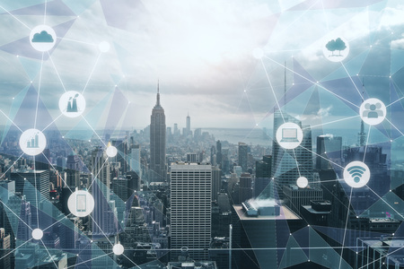 Modern city backdrop with creative media interface. Urbanization and technology concept. Double exposure