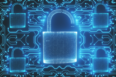 Creative glowing digital padlock circuit texture. Web safety and protection concept. 3D Rendering  Stock Photo