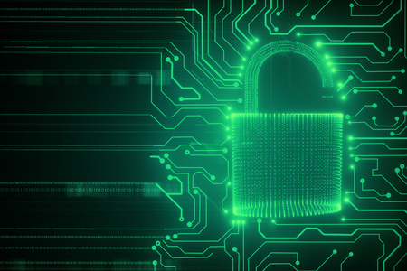Creative glowing digital padlock circuit background. Web safety and protection concept. 3D Rendering