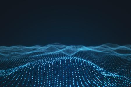 Kreativer polygonaler Wellenhintergrund. Technologie- und Raumkonzept. 3D-Rendering