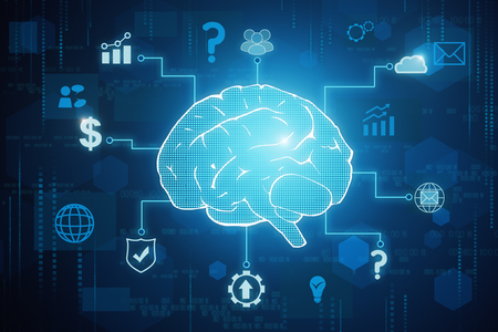 Creative tech brain background. Artificial intelligence concept. 3D Rendering Reklamní fotografie - 97243951