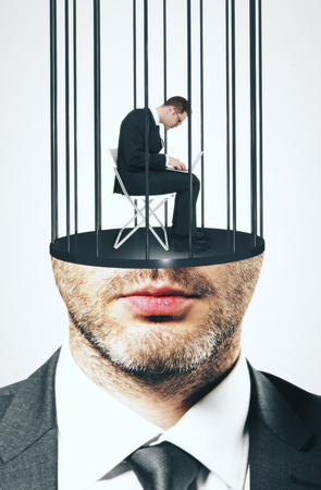 Abstract image of prison bar headed male. Freedom and stereotype concept Stock Photo - 97539499