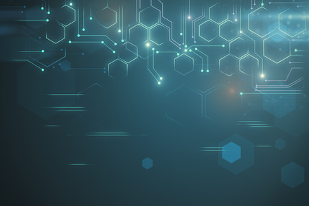 Kreative leuchtende Tech-Kulisse. Cyberspace- und Innovationskonzept. 3D-Rendering