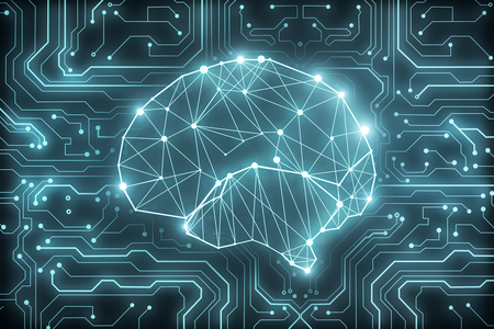Glowing polygonal brain background. Artificial intelligence and computing concept. 3D Rendering  Stockfoto