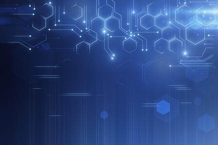 Kreativer glühender Technologiehintergrund. Cyberspace- und Innovationskonzept. 3D-Rendering