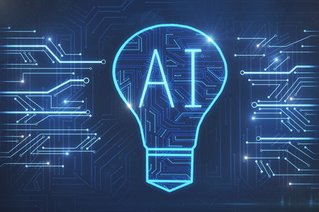 Creative circuit AI lamp background. Technology and artificial intelligence concept. 3D Rendering Reklamní fotografie - 97708820