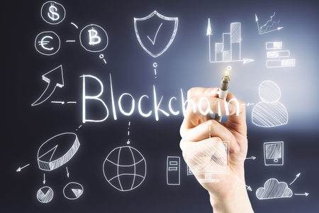 Hand drawing blockchain sketch on abstract background. Cryptocurrency concept  Reklamní fotografie