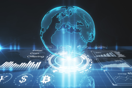 Abstract digital globe background. Broadcast, cryptocurrency and global business concept. 3D Rendering  Standard-Bild