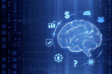 Creative tech brain wallpaper. Artificial intelligence concept. 3D Rendering Stock Photo