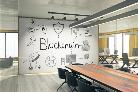 Modern meeting room interior with creative blockchain sketch on whiteboard. Cryptocurrency and payment concept. 3D Rendering