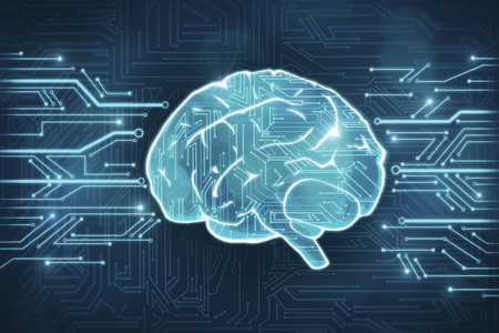 Creative circuit brain background. Artificial intelligence and medicine concept. 3D Rendering