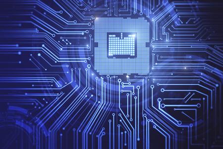 クリエイティブ回路チップの背景。コンピューティングとテクノロジの概念。3D レンダリング
