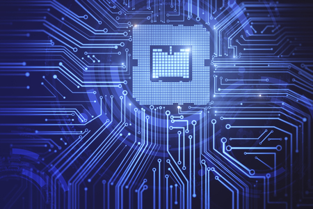 Creative circuit chip background. Computing and technology concept. 3D Rendering Banco de Imagens - 97709098