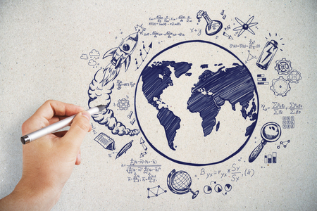 Hand drawing creative globe sketch on concrete wall backdrop. Science and eco concept  Stock Photo