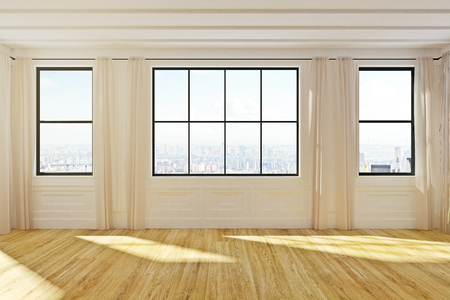 New empty wooden loft office interior with city view and daylight. 3D Rendering