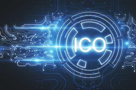 Abstract glowing ICO hologram background. Initial coin offering concept. 3D Rendering