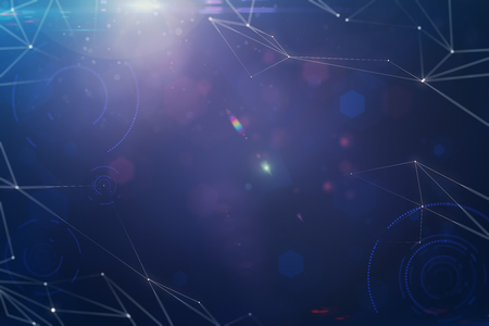Abstract digital polygonal space sky background. 3D Rendering