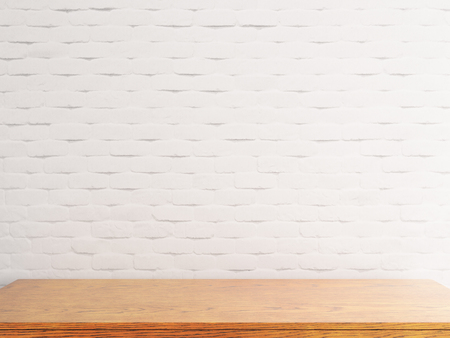 Empty wooden table on white brick wall background. Mock up, 3D Rendering  Stockfoto