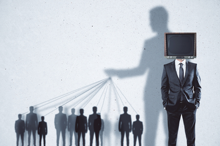Abstract TV manipulation and brainwash background with people and shadows Stock Photo