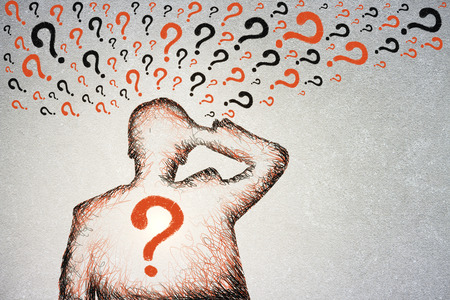 Confused drawn man with question marks. FAQ concept