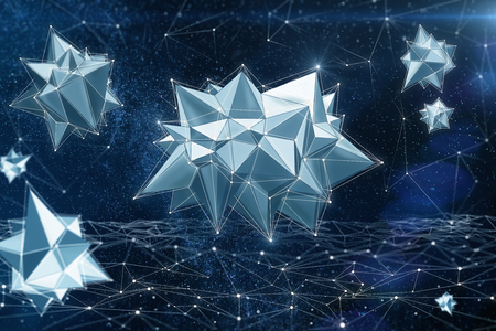 Creative polygonal bacteria in space. Medicine and innovation concept. 3D Rendering