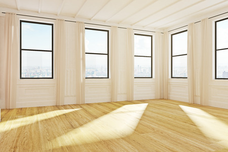 Contemporary empty wooden loft office interior with city view and daylight. 3D Rendering  Stock Photo