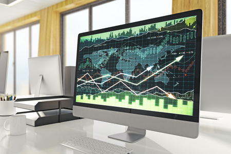 Side view and close up of computer with forex graph on screen. Blurry office interior background. Finance and investment concept. 3D Rendering  Stock Photo