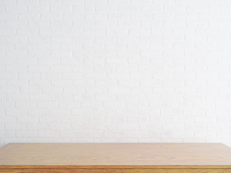Empty wooden desktop on white brick wall background. Mock up, 3D Rendering  Stockfoto
