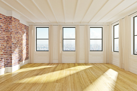 Modern empty wooden loft office interior with city view and daylight. 3D Rendering  Stock Photo