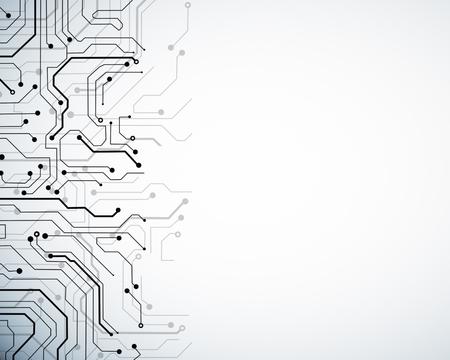 コピースペースを持つ創造的な白い回路の壁紙。テクノロジーとコンピューティングの概念 写真素材
